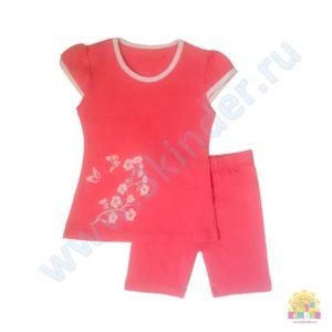 Костюм на девочку (футболка+бриджи) размер: 28,30,32,34 рост: 98-104;110-116;122-128;128-134 состав: 95% х/б, 5% лайкра