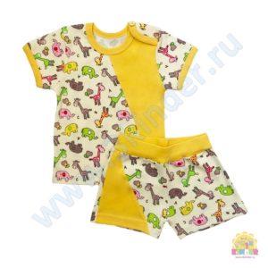 Комплект (футболка+шорты) размер:22(62),24(74),26(80),28(98) состав: интерлок