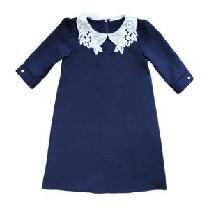 Платье (рукав 2/3) с кружевным воротничком размер: 32-40 рост: 128-158 состав: вискоза 20%, полиэстер 80%