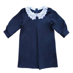 Платье (рукав 2/3) с кружевным воротничком размер: 32-40 рост: 116-146 состав: вискоза 65%, полиэстер 30%,эластан 5%